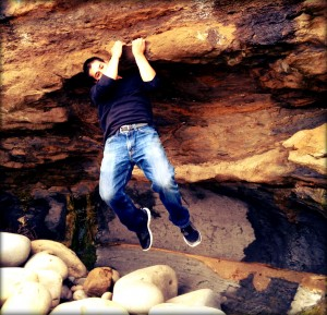 Crazy Me Doing Pull Ups on the Rocks
