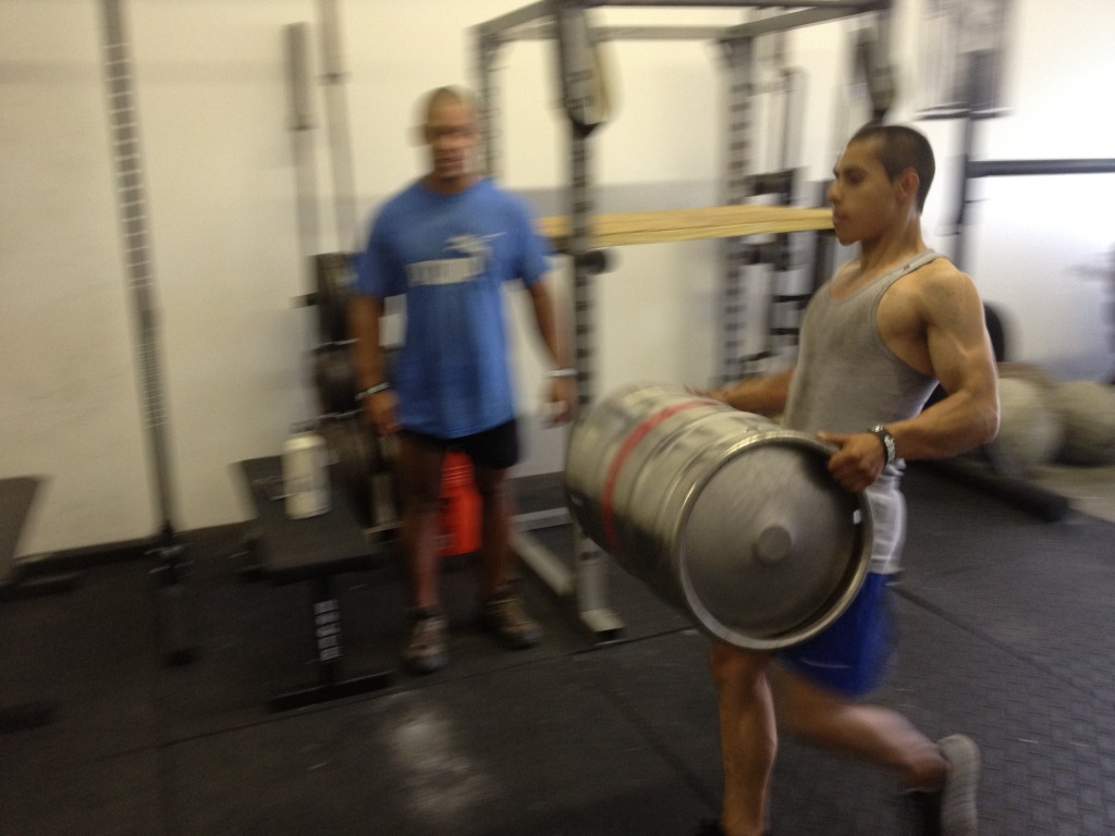 Keg Carries At Strength Camp