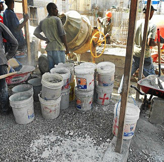 buckets full of sand and gravel